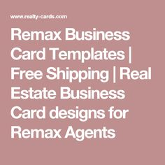 Remax Business Card Templates | Free Shipping | Real Estate Business Card designs for Remax Agents