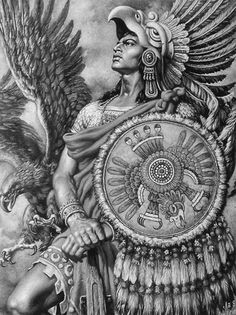 The design and shade of the aztec warrior and the detail on the warrior and the eagle Arte Cholo, Cholo Art, Aztec Warrior Tattoo, Aztec Drawing, Arte Lowrider, Aztec Symbols, Mayan Symbols, Chicano Art Tattoos, Aztecas Art
