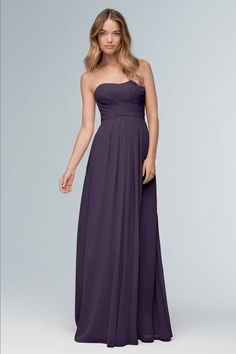 Wtoo Bridesmaid Gowns come in many intriguing styles. Rich cocoa browns, royal blues, emerald greens, and ruby red bridesmaid dresses are just the beginning. Bridesmaid Dresses Marsala, Classic Bridesmaids Dresses, Bridesmaid Dress Styles, Boho Bridesmaids, Bridesmaid Ideas, Wedding Party Dresses, Bridal Dresses, Bridal Reflections, Strapless Dress Formal