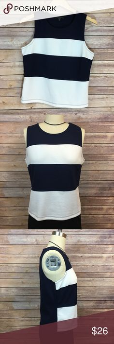 "NWOT Sanctuary Navy and White Striped Tank NWOT Sanctuary Navy and White Striped Tank. Never worn. Size Large. Pit to pit 19""/ length 21"". Made of poly/ Nylon/ Rayon/ elastane blends Sanctuary Tops Tank Tops"