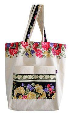 Resultado de imagem para sacolas de tecidos com aplicaçao de flores