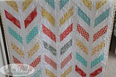 Herringbone Quilt custom made by MissPollysPieceGoods #quilt #herringbone #nursery #baby #aqua #yellow #red #coral #gray https://www.etsy.com/listing/213752514/baby-crib-bedding-design-your-own-baby?ref=shop_home_active_4