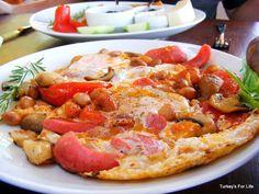 Breakfast on a plate, Olive Garden Restaurant, Kabak, Turkey