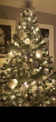 Kerstboom zilver en wit