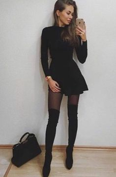 Cute Skirt Outfits, Casual Winter Outfits, Cute Skirts, Classy Outfits, Chic Outfits, Dress Outfits, Fashion Outfits, Dress And Tights Outfit, Girls Fall Outfits