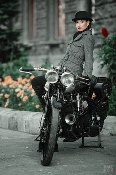 A Brough Superior surfaces in deepest Russia Lady Biker, Biker Girl, Taylor Hill Style, Motorbike Clothing, Freedom Riders, Cafe Racer Girl, Moto Bike, Motorcycle Gear, Biker Style