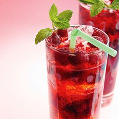 Whether you celebrate the day of love with your spouse, kids, or girlfriends, we've got the perfect healthy drinks for Valentine's Day - like this family-friendly Raspberry Spritzer. #valentinesday #healthydrinkrecipes #drinkrecipes #cocktails #everydayhealth | everydayhealth.com