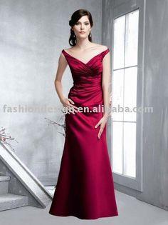 BD030  elegant red floor length satin V neck bridesmaid dresses