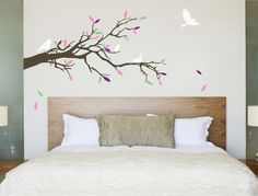 Add the wow factor to your decor with this stunning large tree branch wall sticker with beautiful birds and colourful leafs design **SHOP NOW** Bathroom Wall Stickers, Wall Decals For Bedroom, Kitchen Wall Stickers, Vinyl Wall Stickers, Wall Decal Sticker, Wall Transfers, Beautiful Wall, Tree Wall, Wall Art Decor