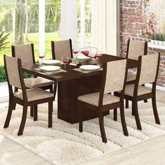 Conjunto para Sala de Jantar Lady K Mesa e 6 Cadeiras Choco/Capuccino - Viero