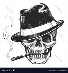 tattoo Death head with cigar and hat vector illustration Downlo Gangster skull tattoo Death head with cigar and hat vector illustration Downlo Descubra Skull in hat wi. Tattoos Skull, Skull Tattoo Design, Head Tattoos, Sleeve Tattoos, Acab Tattoo, Tattoo Fairy, Totenkopf Tattoos, Tattoo No Peito, Skull Art