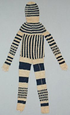 """gazophylacium: """" Masquerade costume made of woven cotton cloth. Gade, NIgeria, (via British Museum) (It looks to me like it's sprang or knitted, not woven, but i guess I should take their word. Masquerade Costumes, African Textiles, British Museum, Costume Design, Wearable Art, Fabric Design, Indigo, Knitwear, Woven Cotton"""