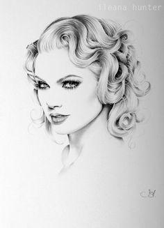Taylor Swift Pencil Drawing Fine Art Portrait by IleanaHunter 2 1
