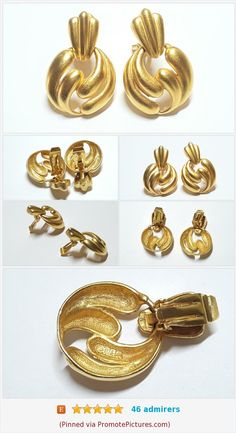 Antique Brass Finish Brutalist Brooch and Earring Set UNUSUAL! Marble Centers with Small Pearl Accents SALE Abstract