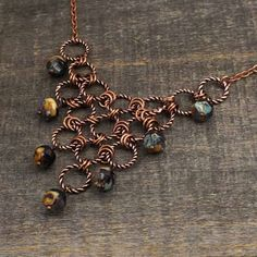 Purple and copper chain maille necklace