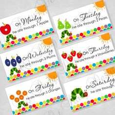 Custom order for bucky00 shipped priority mail birthday cake diy printable very hungry caterpillar inspired food cards digital file 700 bookmarktalkfo Image collections