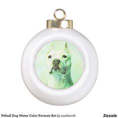 #Pitbull #Dog Water Color Portrait Art Ceramic Ball #Christmas #Ornament #Christmas2016