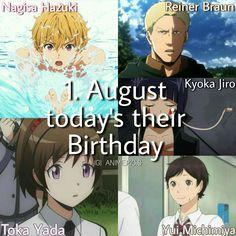 Anime: free,Attack on titan, boku no hero academia, assassination classroom ,haikyuu ♡ characters: nagisa hazuki ,reiner braun,kyoka jiro ,toka yada, Yui michimiya