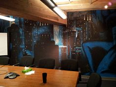"""Rapture skyline wall decal. So cool! Want for my """"man"""" cave!"""