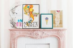 """Designer, author, and HGTV host Tiffany Pratt's apartment is nicknamed """"The Glitter Suite. Faux Fireplace, Marble Fireplaces, Home Living Room, Living Room Decor, Tiffany Pratt, Decor Interior Design, Interior Decorating, Toronto Apartment, Babe Cave"""