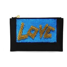 Forest Of Chintz The Love Clutch - Blue And Gold (10,200 MXN) ❤ liked on Polyvore featuring bags, handbags, clutches, blue purse, sequin clutches, sequin purse, gold handbags and party handbags