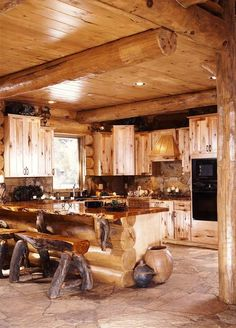log cabin style kitchen