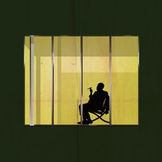 The silhouettes of architects including Mies van der Rohe, Frank Lloyd Wright and Zaha Hadid are each depicted within a window from one of their buildings in these new illustrations by Federico Babina.  This is supposed to be Mies.