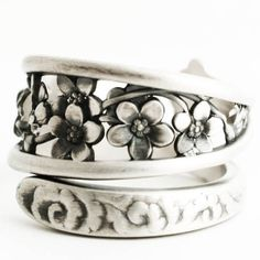 Forget Me Not Ring, Antique Spoon Ring Sterling Silver, Forget Me Not Flower Gift for Her, Adjustable Ring Size, Whiting Silver 1885 (6628) by Spoonier on Etsy
