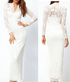 -Charming Lace Floral Long Sleeves V Neck Maxi Dress White-  Color: As the picture  Lady Size: Free size  Waist: 68-78cm  Bust: 84-89cm  Price:php 1600