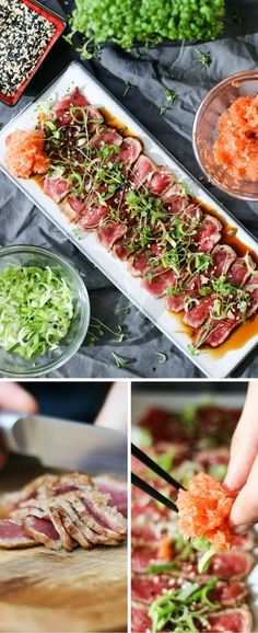 Beef tataki is one of those dishes you use as a starter to impress your boss. It looks gorgeous and tastes amazing. This dish has the appearance of being complicated and difficult – while being neithe Dairy Free Snacks, Dairy Free Recipes, Great Recipes, Favorite Recipes, Beef Tataki, Tuna Tataki, Carpaccio, Food Design, Soul Food
