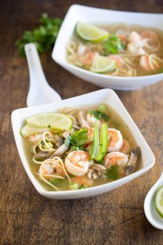 This Spicy Shrimp Pho is a twist on the traditional Vietnamese soup made with chicken broth, shrimp, cilantro and lime. | #recipe #soup