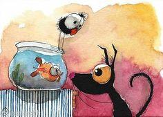 ACEO Original Watercolor Folk Art Painting Black Stressie Cat Crow Gold Fish Fun | eBay
