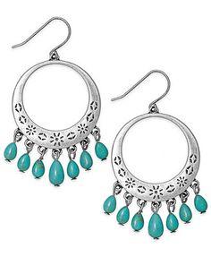 Lauren Ralph Lauren Silver-Tone Turquoise Bead Gypsy Hoop Earrings