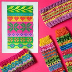 Love the colors in this pattern Fair Isle Knitting Patterns, Fair Isle Pattern, Knitting Charts, Knitting Socks, Knitting Designs, Knitting Stitches, Knit Patterns, Knitting Projects, Stitch Patterns