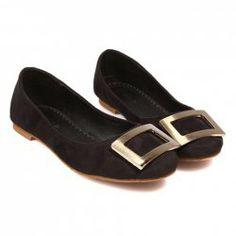 Casual Women's Flat Shoes With Square Buckle and Suede Design
