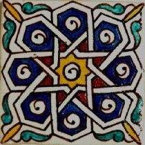 Hand-painted HP 1 Moroccan Tile , 10 x 10 cm