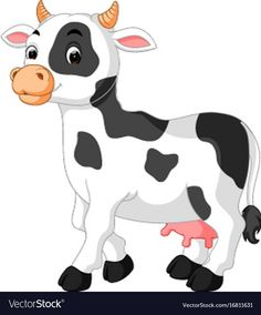 Cute cow cartoon vector image on VectorStock Cartoon Cow, Cartoon Fish, Cute Cartoon, Baby Animal Nursery, Baby Animals, Cute Animals, Cow Drawing, Animal Cutouts, Drawing Lessons For Kids