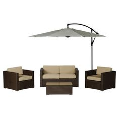 5-Piece Ava Wicker Patio Seating Group in Brown