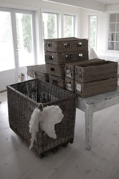 old baskets -sigh... for silverware, rags, paper towels, etc