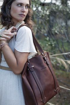 This handmade leather tote bag is designed for everyday use. Rebecca Minkoff, Tote Bag, Handmade Leather, Bags, Stuff To Buy, Accessories, Style, Fashion, Handbags