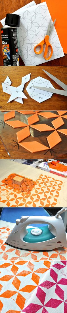 DIY :: simple block printing using craft foam ( http://flowerpress.blogspot.com.au/2012/06/foam-block-printing-tutorial.html#axzz295oniGAB )