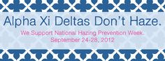 Alpha Xi Deltas Don't Haze Facebook Timeline Cover Photo to use in support of National Hazing Prevention Week (or any time!).