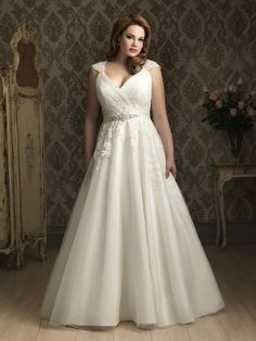 Allure Bridals plus size wedding dress with lace sleeves