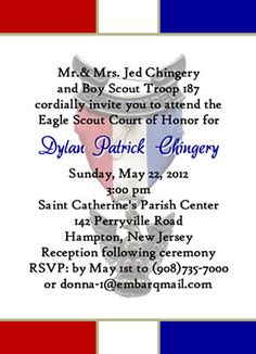 Eagle Scout Court of Honor Invitations Dedicated Scout blue