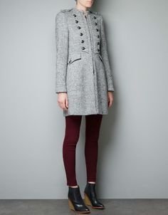 WOOL MILITARY COAT - Woman - New this week - ZARA United States  Very unique and feminine but functional.