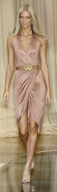 Versace ~ Spring Silk Wrap Midi Dress w Halter Low-V Neckline, Blush 2015
