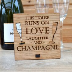 This House Runs on Love Laughter and Champagne – Personalised Oak Wooden Sign - Pretty Personalised
