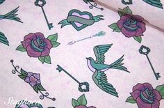 Love Birds Jersey rosa *Tattoo Birds* - Ökotex - elastisch