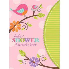 "Amscan Tweet Girl Baby Shower Party Keepsake Book, 8-1/4 x 6"", Bright Pink/Light Pink/Green"