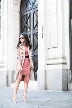 Spring Rose :: Lace trench & Knit dress :: Outfit :: Trench :: Burberry Dress :: Missguided Shoes :: Christian Louboutin Bag :: Valentino Accessories :: Karen Walker sunglasses, Vince Camuto belt Published: March 14, 2016
